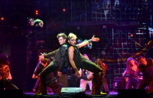 Johnny (Alex Nee, left) and the drug-pushing St. Jimmy (Trent Saunders) perform a number from American Idiot (photo by John Daughtry)