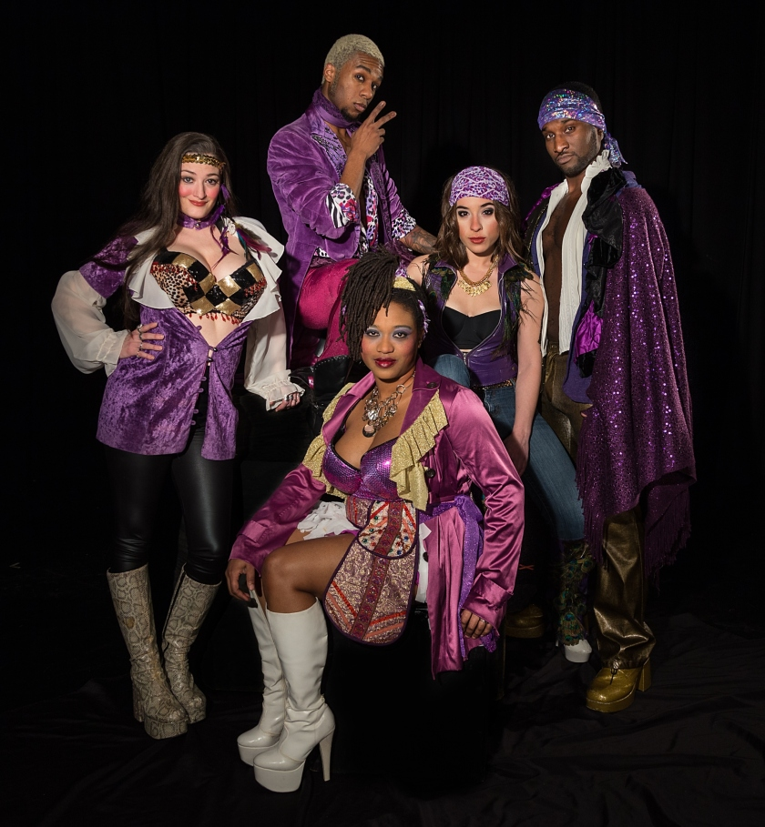 Leah Haviland, Nick Wilson, Noelle Grandison, Nikki Davis and Guillermo Jemmott (from left) in Evolutionaries: The Stories and Music of David Bowie and Prince, opening this week at Shadowbox Live (Photo by Buzz Crisafulli)