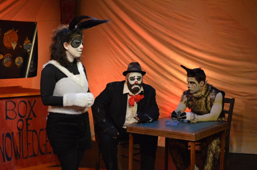 Appearing in MadLab's production of Clowntime Is Over are (from left) Shana Kramer as Susie the Bunny, Andy Batt as Max and Chad Hewitt as Tidy the Llama (photo by Michelle DiCeglio)