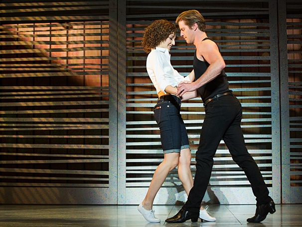 Baby (Rachel Boone) and Johnny (Christopher) share a few steps in the national tour of Dirty Dancing, presented by Broadway in Columbus (photo by Matthew Murphy)