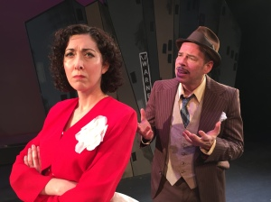 Nathan Detroit (Todd Covert) and his longtime fiancee Miss Adelaide (Amy Silver Judd) in the Gallery Players production of Guys & Dolls (photo by Jared Saltman)