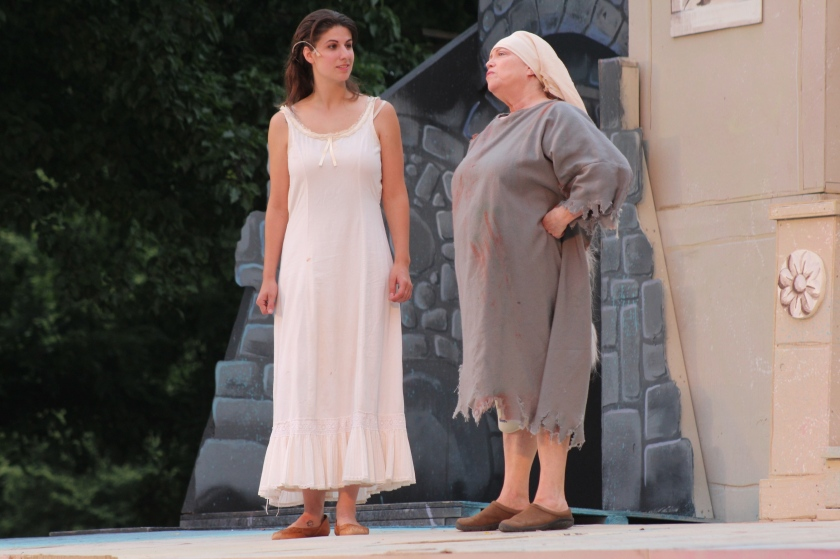The unjustly imprisoned Amelie Dantes (McLane Nagy, left) develops an informative relationship with a fellow inmate (Catherine Cryan) in Actors' Theatre's world-premiere production of The Countess of Monte Cristo (photo by Richard Ades)