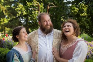 Appearing in The Merry Wives of Windsor are (from left): Elizabeth Harelick as Mistress Ford, Adam Simon as Sir John Falstaff and Michelle Weiser as Mistress Page (photo by Nick Pershing)