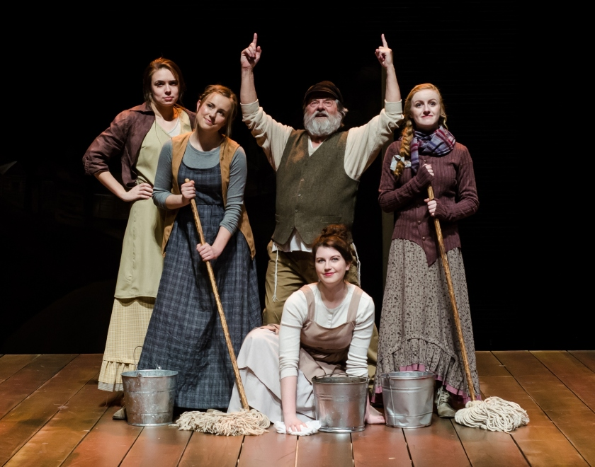 Appearing in Otterbein University Theatre's production of Fiddler on the Roof are (front) Lauren Kent (Tzeitel), (rear, from left) Aubree Tally (Golde), Natalie Szczerba (Hodel), John Stefano (Tevye) and Abigail Isom (Chava) (photo by Evan Moore-Coll)