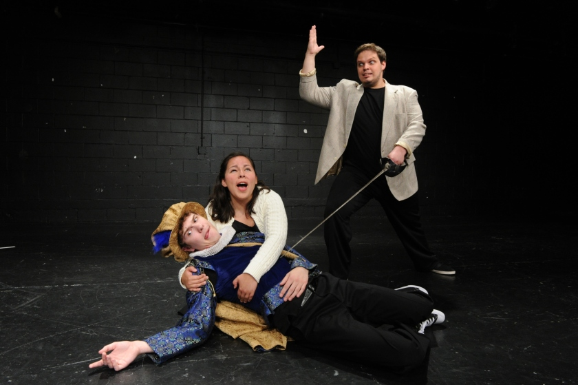 Benjamin Folts, Grace Hoover and Evan Moore-Coll (from left) share a scene in Otterbein Summer Theatre's production of Invention of Theater (photo by Ed Syguda)
