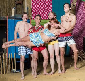 Chicklet (Nick Hardin) gets a lift from friends (from left) Provoloney (Andrew Trimmer), Star Cat (Jason Crase), YoYo (Luke Stewart) and Kanaka (Dan Montour) in Psycho Beach Party, one of two plays opening this week at Short North Stage (photo by Jason Allen, Second Glimpse Photography)