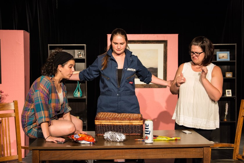 Shana Kramer, Cat McAlpine and Kyle Jepson (from left) in MadLab's world premiere of Scritch Scritch by Christopher Lockheardt (photo by Michelle DiCeglio)