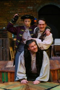 Lisa Thoma, Robert Behrens and Joe Dallacqua (clockwise from top) perform in CATCO's production of Shipwrecked! An Entertainment – The Amazing Adventures of Louis de Rougemont (as Told by Himself) (photo by Dave Alkire)