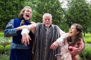 Appearing in Actors' Theatre's production of The Miser are (from left) Danny Turek as Cleante, Ted Amore as Harpagon and Elizabeth Harelik as Elise (photo by Nick Pershing)