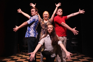 Annie Huckaba, Bradley Johnson, Elisabeth Zimmerman and Jonathan Collura (clockwise from front) star in CATCO's production of [title of show]