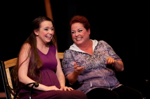 Betsy Shortt (left) and Julie Klein in The Lost Girl, one of three Don Nigro works featured in Viva Vagina (Studio 66 photo)