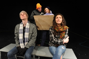 Appearing in Almost, Maine are (from left) Sean Murphy, Harry Sanderson, Emily Vanni and Marina Pires (photo by Ed Syguda)