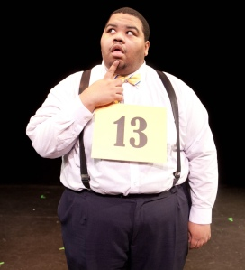 Japheal Bondurant as competitor William Barfee in CATCO's production of The 25th Annual Putnam County Spelling Bee (Red Generation Photography)