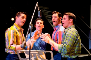 Brandon Andrus, Nick Cosgrove, Jason Kappus and Nicolas Dromard (from left) play the Four Seasons in Jersey Boys (photo by Jeremy Daniel)