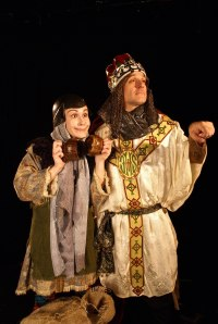 Tom Cardinal (right) as King Arthur and Amy Lay as his aide, Patsy, in Spamalot (photo courtesy of Shadowbox Live)
