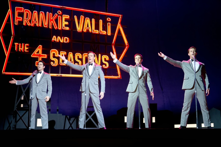 Playing the Four Seasons in a scene from Jersey Boys are (from left): John Lloyd Young (Frankie Valli), Erich Bergen (Bob Guadio), Vincent Piazza (Tommy DeVito) and Michael Lomenda (Nick Massi) (Warner Bros. Entertainment Inc.)