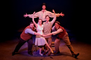 Appearing in The Fantasticks are (clockwise from top): Ian Taylor (the Mute), Alex Huffman (Hucklebee), Preston Pounds (Matt), Natalie Szczerba (Luisa) and Kyle Hansen (Bellomy) (photo by Andrew Beers)