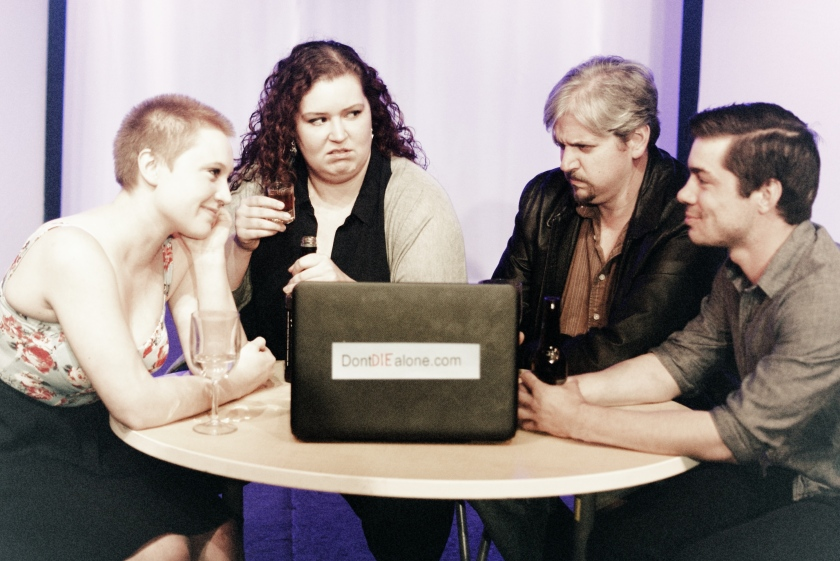 Featured in The Playdaters are (from left) MaryBeth Griffith as Stephanie, Audrey Rush as Erma, Josh Kessler as Erwin and Chad Hewitt as Spencer (photo by Andy Batt)