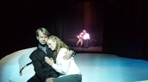 Sharing a rare moment of peace and happiness are (from left) Cloud (Stephen Woosley), Meryl (Katharine Pilcher), Charlotte (Colleen Dunne) and Mordecai (Travis Horseman) in the world premiere of Memory Fragments (photo by Andy Batt)
