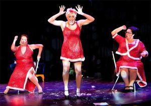 Santa Babies (from left) Dixie (Julie Klein), Dolly (Stacie Boord) and Dorothy (Stephanie Shull) return for Holiday Hoopla 2014 (Shadowbox Live photo)