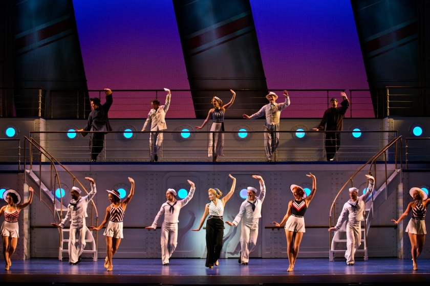 Emma Stratton (center, lower deck) shows off her dance moves with other members of the company of Anything Goes (photo by Jeremy Daniel)