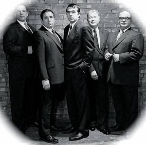 Donnie Lockwood, Brent Alan Burington, Adam Latek, Mark P. Schwamberger and David Vargo (from left) in The Temperamentals (Evolution Theatre Company photo)
