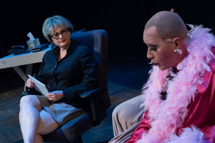 "Dr. Eve Bolinger (Ruth Sternberg) tries to ""de-homosexualize"" Earl ""Brother Boy"" Ingram (Mark Phillips Schwamberger) in Evolution Theatre Company's production of Sordid Lives (photo by Jerri Shafer)"