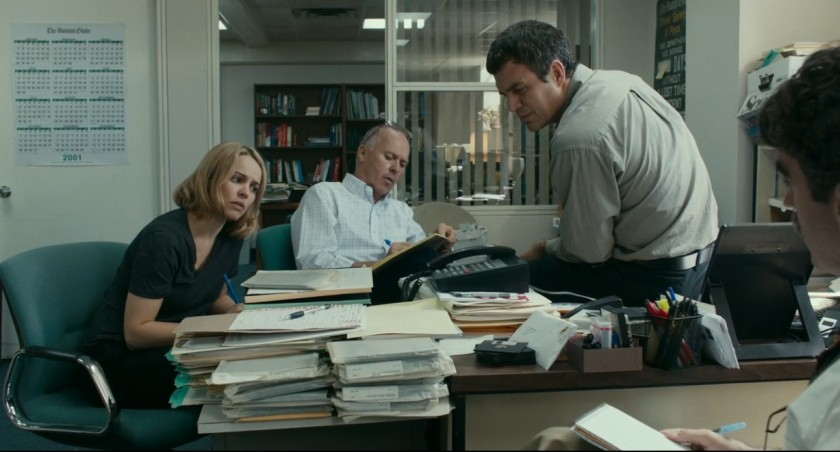 Rachel McAdams, Michael Keaton, Mark Ruffalo and Brian d'Arcy James (from left) play journalists investigating pedophile priests in Spotlight (Open Road Films)