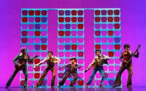A young version of the Jackson 5 makes an appearance in Motown the Musical (photo by Joan Marcus)