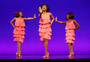 Playing the Supremes in Motown the Musical are (from left): Krisha Marcano (Florence Ballard), Allison Semmes (Diana Ross) and Trisha Jeffrey (Mary Wilson) (photo by Joan Marcus)
