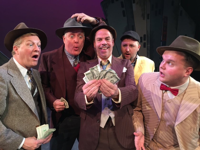 Playing gamblers in Guys & Dolls are (from left): Bradley Davis Barbin, Kent Stuckey (Benny Southstreet), Todd Covert (Nathan Detroit), Derryck Menard and Ryan Kopycinski (Nicely Nicely) (photo by Jared Saltman)