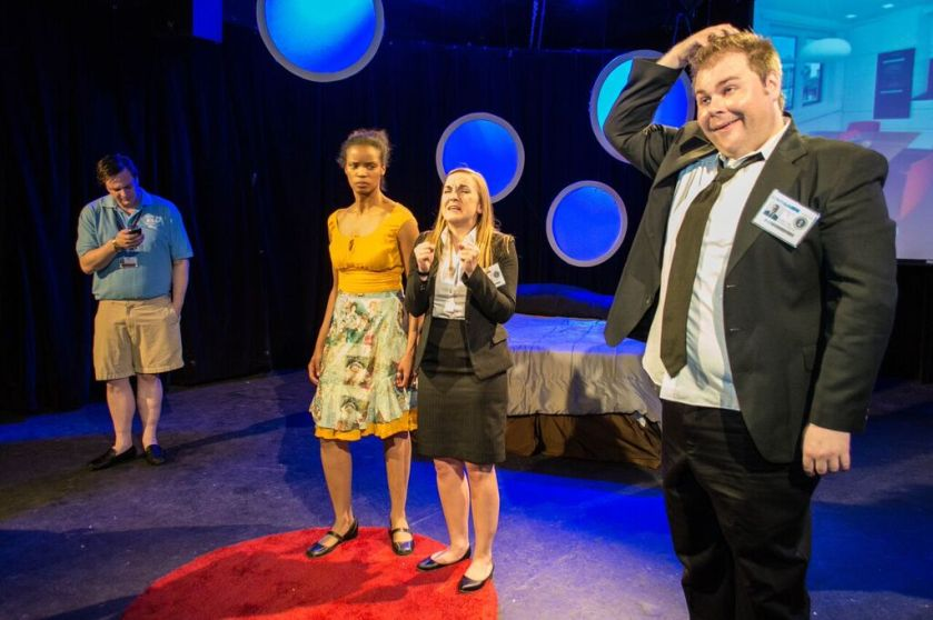 Appearing in The NSA's Guide to Sex and Love are (from left): Scott Clay as Chuck, Alanna G. Rex as Daisy, Colleen Dunne as Gabrielle and Scott Douglas Wilson as Tom (photo by Michelle Diceglio)