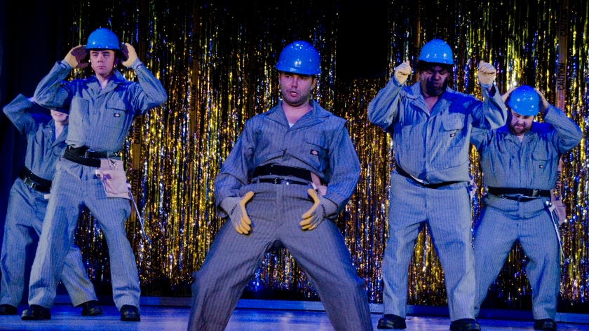 Unemployment turns factory workers into strippers in The Full Monty (photo by Heather Wack)