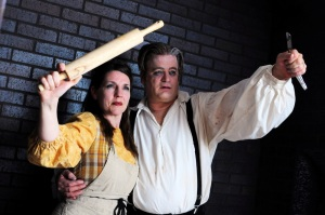 Susan Bunsold Wilson and Bill Hafner in Standing Room Only's production of Sweeney Todd (photo by Dale Bush)