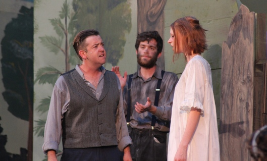 Leontes (Andy Falter, left) accuses Hermione (Kathryn Miller) of infidelity in Shakespeare's The Winter's Tale (photos by Richard Ades)
