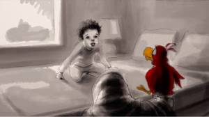 The film uses original animation to bring to life the characters Owen has imagined on his own.