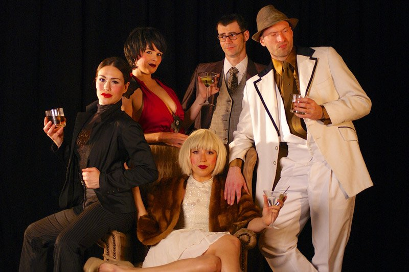 The cast of Broken Whispers includes (clockwise from front): Miriam King as Daisy, Amy Lay as Gatsby, Nikki Fagin as Jordan, Robbie Nance as Nick and Andy Ankrom as Tom. (Shadowbox Live photo)