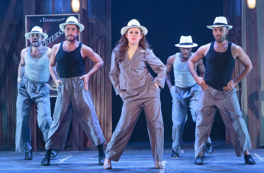 Movie queen Aurora (Eli Brickey) performs with dancers (from left) Edgar Lopez, James Schoppe, Kevin Ferguson and Patrick Carmichael. (photo by Jason Allen)